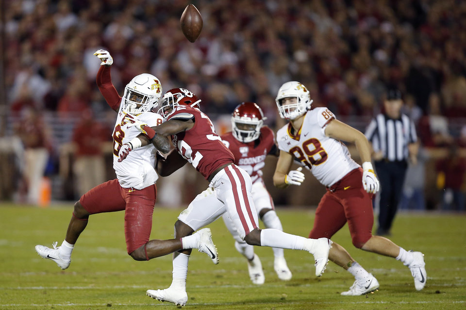 Photo - Oklahoma's Delarrin Turner-Yell (32) breaks up a pass intended for Iowa State's Deshaunte Jones (8) during an NCAA football game between the University of Oklahoma Sooners (OU) and the Iowa State University Cyclones at Gaylord Family-Oklahoma Memorial Stadium in Norman, Okla., Saturday, Nov. 9, 2019. [Bryan Terry/The Oklahoman]