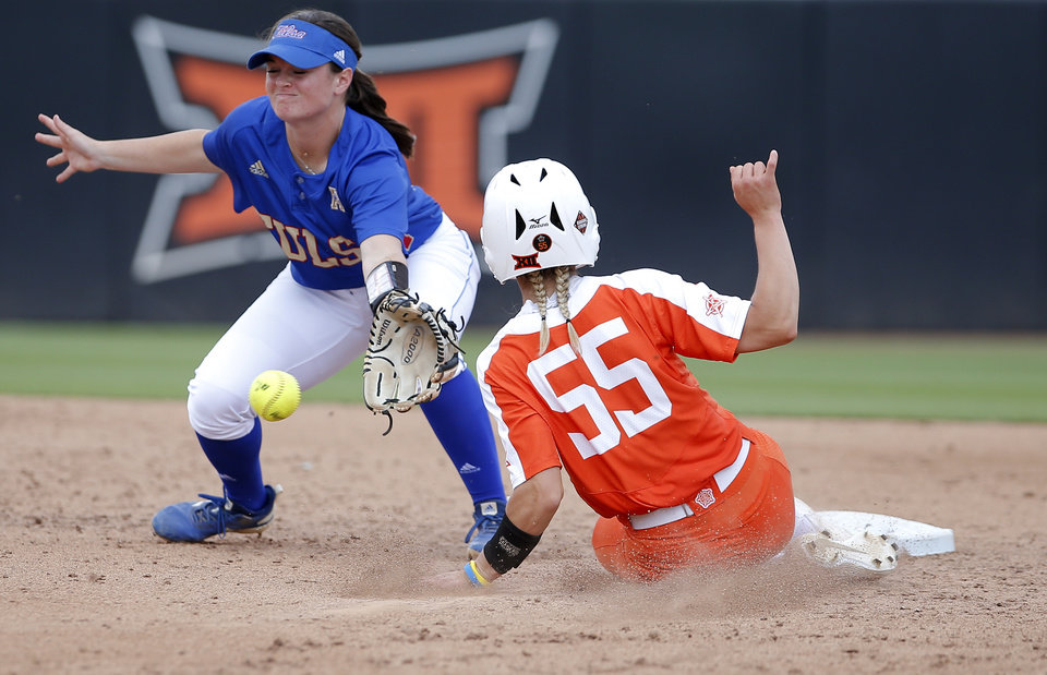 Photo - OSU's Chelsea Alexander stills second as Tulsa's Sarah Briers mishandles the throw in the 4th inning during a NCAA regional softball game between the University of Oklahoma and Tulsa in  Stillwater, Okla., Friday, May 17, 2019. OSU beat Tulsa 13-10. Photo by Sarah Phipps, The Oklahoman