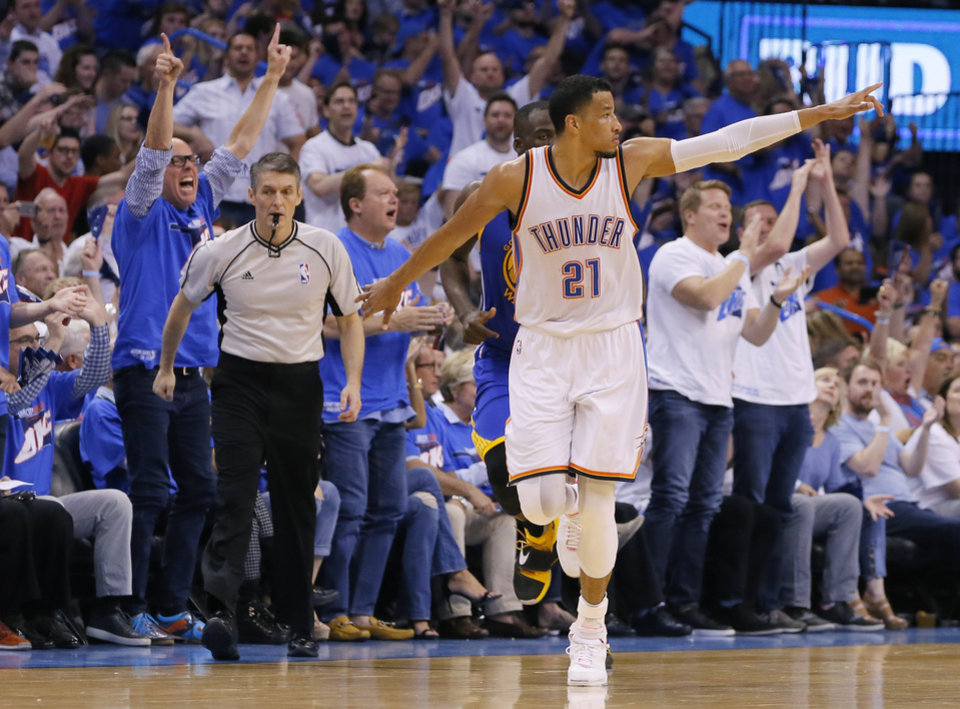 Photo - Oklahoma City's Andre Roberson (21) celebrates after a basket during Game 3 of the Western Conference finals in the NBA playoffs between the Oklahoma City Thunder and the Golden State Warriors at Chesapeake Energy Arena in Oklahoma City, Sunday, May 22, 2016. Oklahoma City won 133-105. Photo by Bryan Terry, The Oklahoman