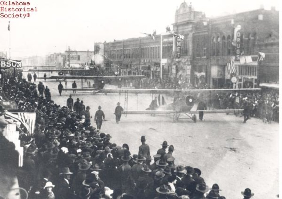 Photo -  An Armistice Day parade in Lawton is held a few days after the end of World War I. [Photo courtesy of the Oklahoma Historical Society]