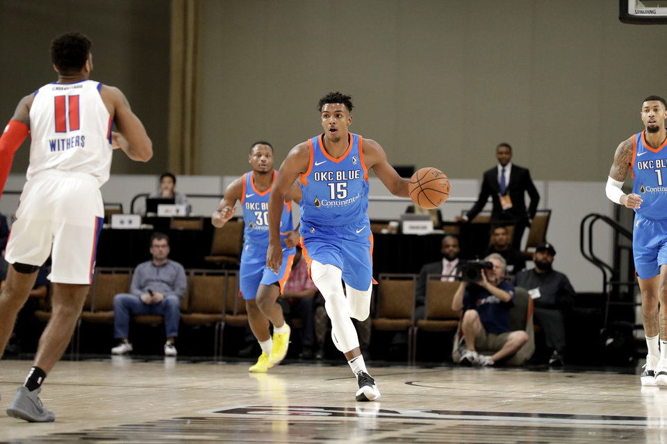 Photo - LAS VEGAS, NV - DECEMBER 21: Donte Grantham #15 of the Oklahoma City Blue handles the ball against the Grand Rapids Drive during the NBA G League Winter Showcase at Mandalay Bay Events Center in Las Vegas, Nevada on December 21, 2018. NOTE TO USER: User expressly acknowledges and agrees that, by downloading and/or using this Photograph, user is consenting to the terms and conditions of the Getty Images License Agreement. Mandatory Copyright Notice: Copyright 2018 NBAE (Photo by Isaac Brekken/NBAE via Getty Images)