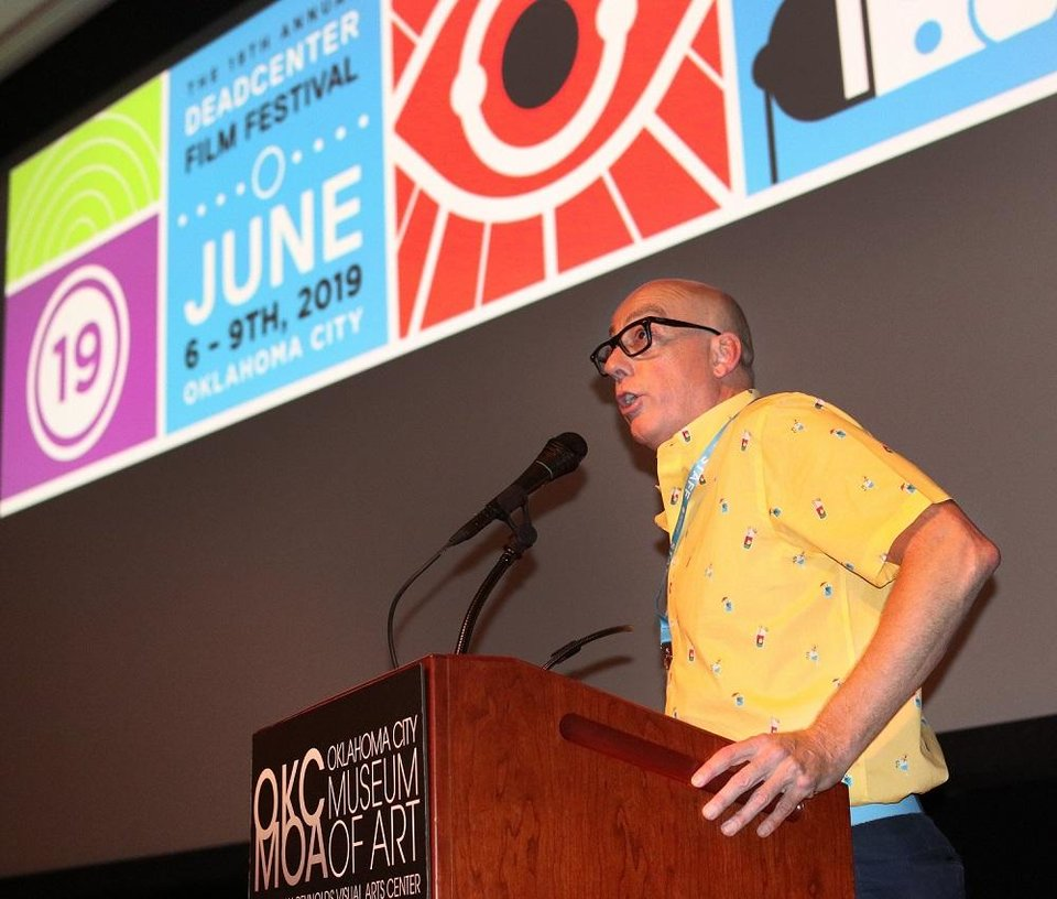 Photo - Lance McDaniel, deadCenter Film executive director, speaks during opening night for the 2019 deadCenter Film Festival at the Oklahoma City Museum of Art, Thursday, June 6, 2019. Due to the coronavirus pandemic, the 2020 edition of the deadCenter Film Festival will be primarily online. [Doug Hoke/The Oklahoman Archives]