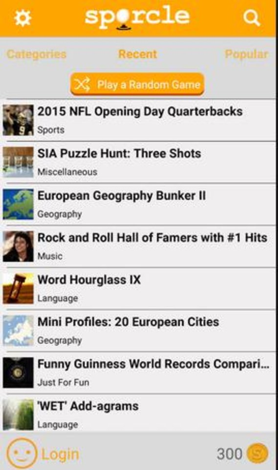 Photo -  The Sporcle app can focus on categories including sports, movies, television, music or geography.