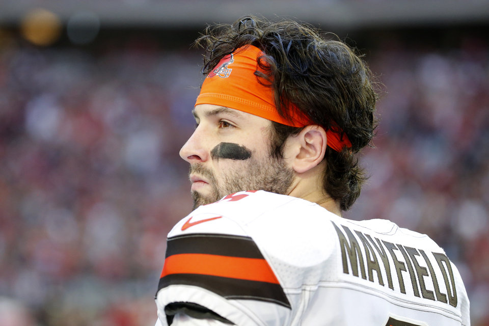 Photo - Cleveland Browns quarterback Baker Mayfield (6) during an NFL football game against the Arizona Cardinals, Sunday, Dec. 15, 2019, in Glendale, Ariz. (AP Photo/Rick Scuteri)