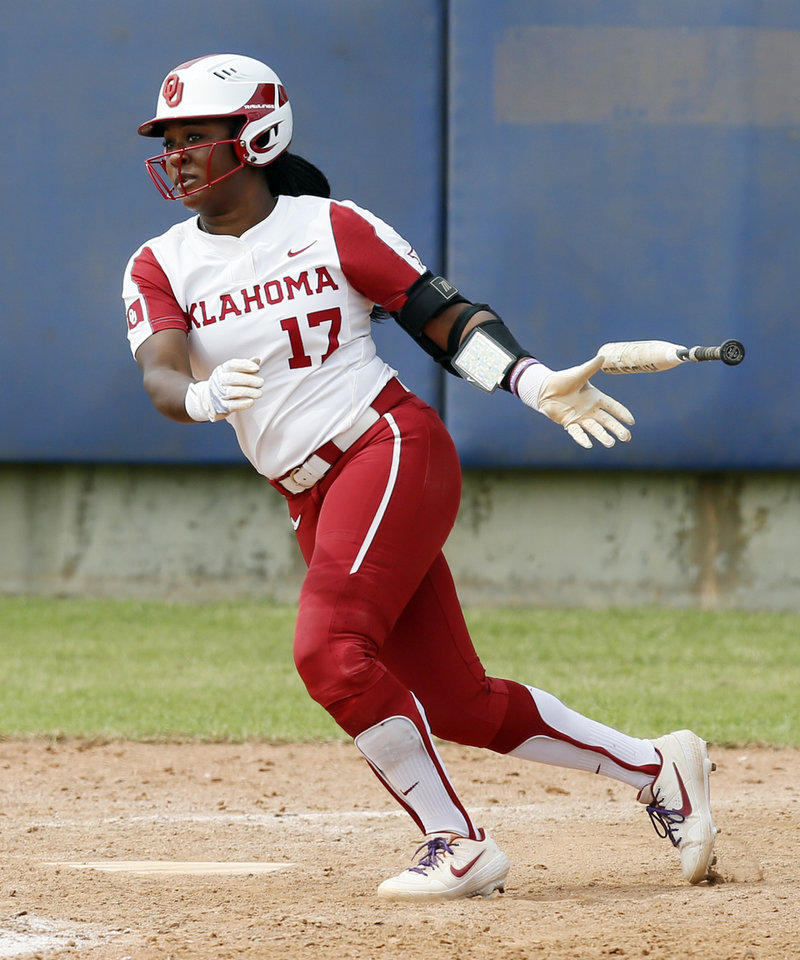 Photo - OU's Shay Knighten (17) singles to drive in the final run in the sixth inning during a game between Oklahoma and Texas Tech in the Big 12 softball tournament at USA Softball Hall of Fame Complex in Oklahoma City, Friday, May 10, 2019. OU won 8-0 in six innings. [Nate Billings/The Oklahoman]