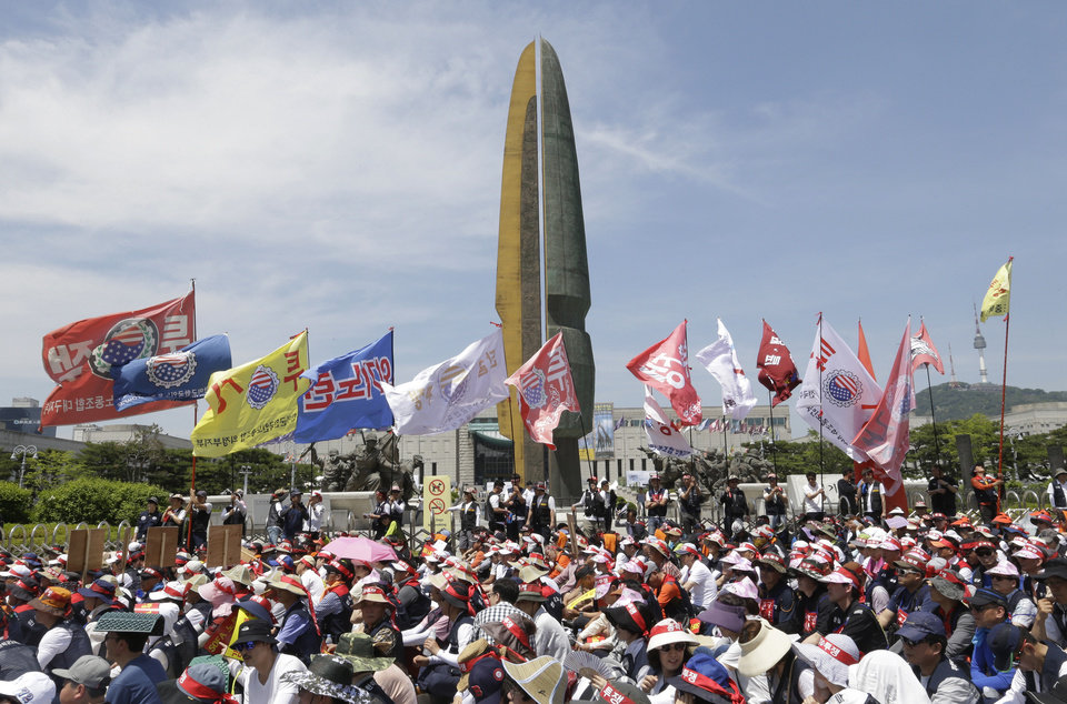 South Koreans Employees At U S Military Bases Stage A Rally Demanding Job Security For All South