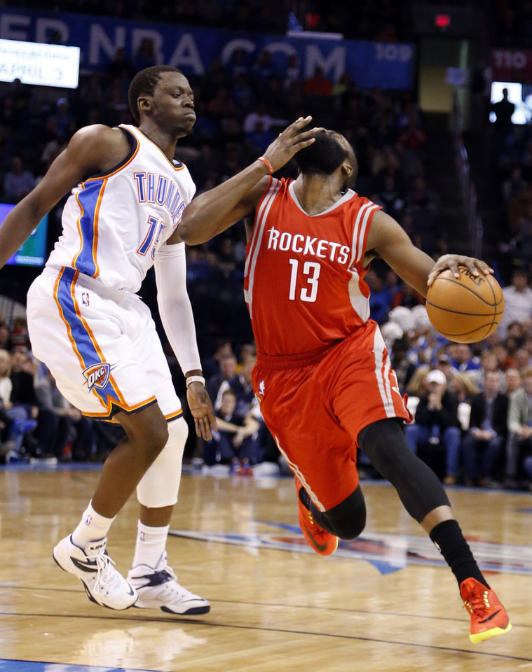 5d365f4e Houston's James Harden (13) reacts ager being fouled by Oklahoma City's  Reggie Jackson during the NBA game between the Oklahoma City Thunder and  the Houston ...