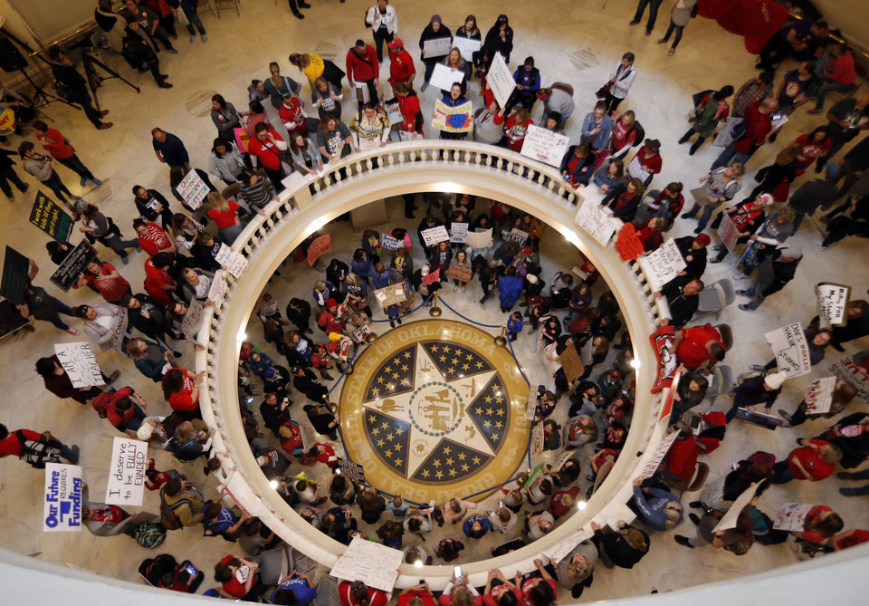Photo - Oklahoma teachers fill the the State Capitol to capacity on Tuesday, April 3, 2018 in Oklahoma City, Okla.  Photo by Steve Sisney, The Oklahoman