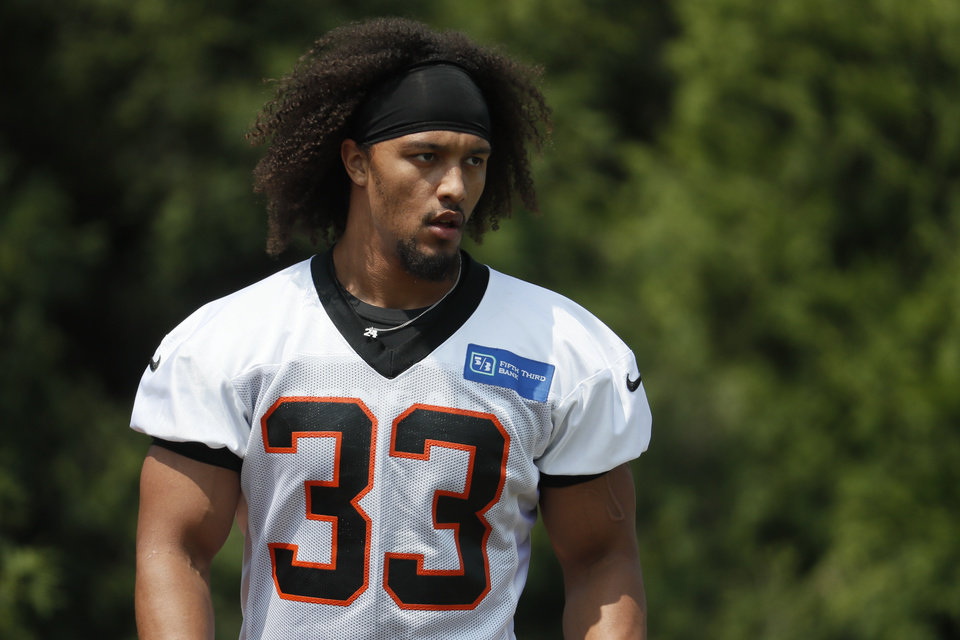 Photo - Cincinnati Bengals running back Rodney Anderson participates in practice at the team's NFL football training facility, Tuesday, June 4, 2019, in Cincinnati. (AP Photo/John Minchillo)