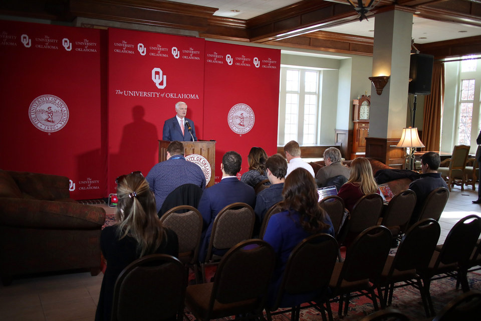Photo - University of Oklahoma President, James Gallogly, addresses the media Monday, January 21, 2019 to over the racist video by an OU sorority student.  Photo by Doug Hoke, The Oklahoman