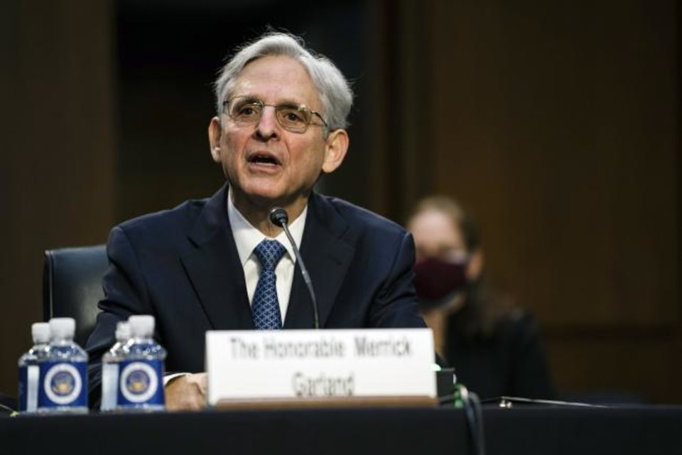 Photo -  Judge Merrick Garland, nominee to be Attorney General, testifies Monday at his confirmation hearing before the Senate Judiciary Committee. [Demetrius Freeman/The Washington Post via AP, Pool]