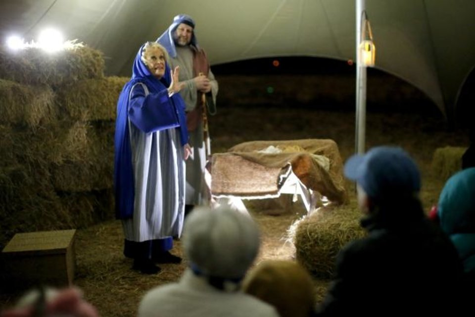 Photo -  Sally Riffey and Scott Smith portray Mary and Joseph during the 2018