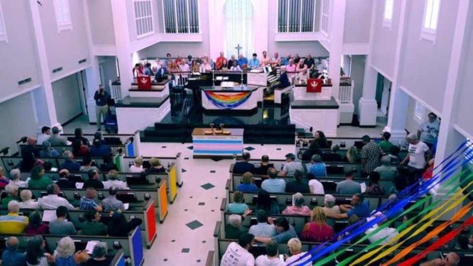 Photo -  More than 400 people gathered for the inaugural Ecumenical Pride Worship Service on Wednesday at Mayflower Congregational Church-United Church of Christ, 3901 NW 63. [Photo provided]