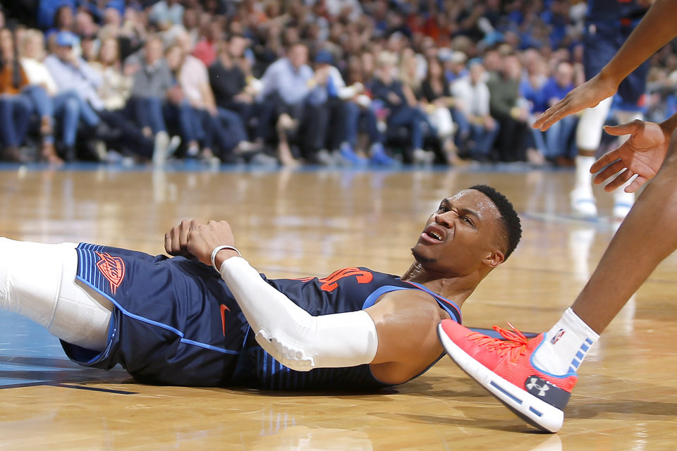 Photo - Oklahoma City's Russell Westbrook (0) reacts after getting fouled during an NBA basketball game between the Oklahoma City Thunder and the Sacramento Kings at Chesapeake Energy Arena in Oklahoma City, Sunday, Oct. 21, 2018. Photo by Bryan Terry, The Oklahoman