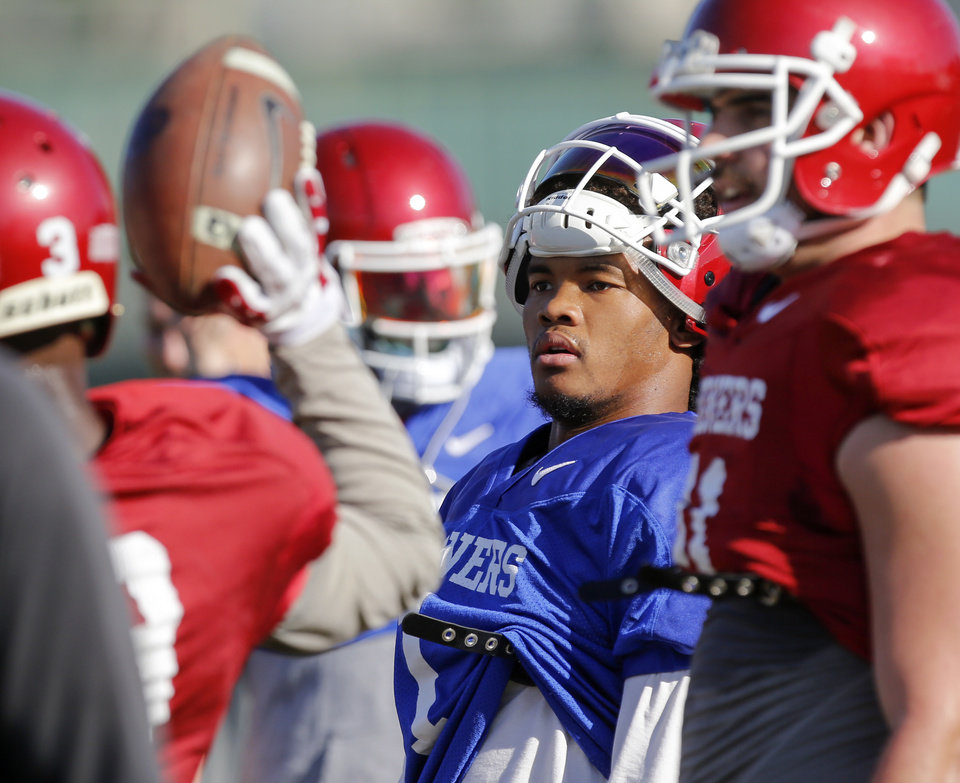 Photo - OU's Kyler Murray during practice for the Oklahoma Sooners at StubHub Center in Carson, California, Friday, Dec. 29, 2017. Oklahoma will play Georgia in the Rose Bowl Game, a College Football Playoff Semifinal, on Jan. 1, 2018. Photo by Nate Billings, The Oklahoman