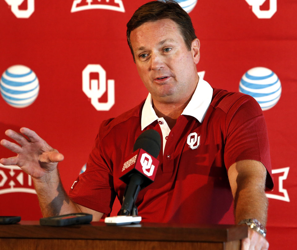 Photo -  Head coach Bob Stoops speaks to the media at a press conference following Meet the Sooners Day activities for the University of Oklahoma Sooners (OU) football team at Gaylord Family-Oklahoma Memorial Stadium in Norman, Okla., on Saturday, Aug. 8, 2015. Photo by Steve Sisney, The Oklahoman