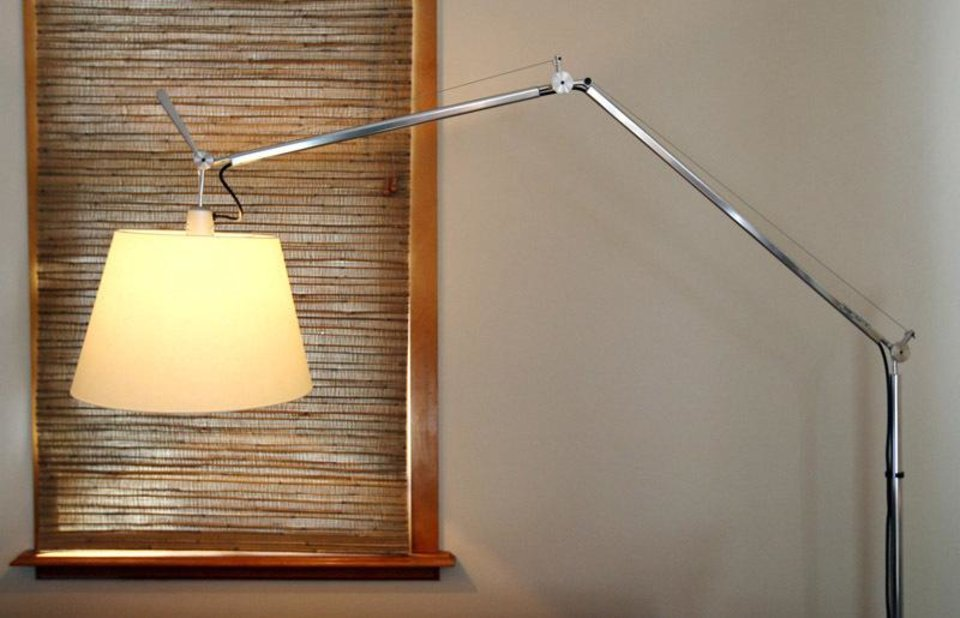 Photo - Horizon natural Roman shades, $350 each  Floor lamp, Design Within Reach, $695