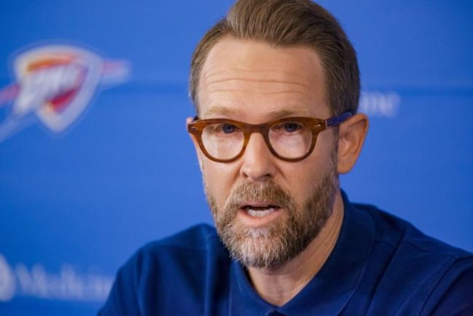 "Photo -  Thunder general manager Sam Presti says ""it was important to be with the group"" in the NBA bubble. [Chris Landsberger/The Oklahoman]"