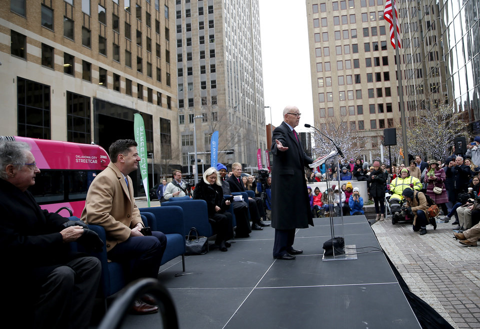 Photo - Tom McDaniel speaks during grand open ceremonies for the Oklahoma City Streetcar system at Leadership Square,  Friday, Dec. 14, 2018. Photo by Sarah Phipps, The Oklahoman