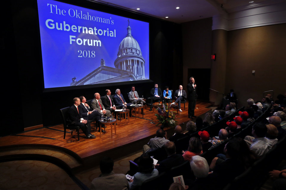 Photo - Republican gubernatorial candidates Mick Cornett, Dan Fisher, Gary Jones, Todd Lamb, Gary Richardson and Kevin Stitt  participate in a forum for candidates at the Oklahoma City Museum of Art on Monday, April 23, 2018 in Oklahoma City, Okla.  Christopher P. Reen, President, Publisher of The Oklahoman starts the discussion.  Photo by Steve Sisney, The Oklahoman