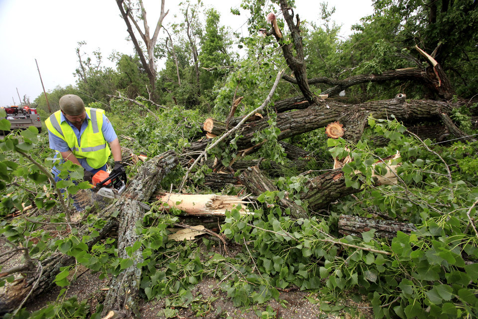 Photo -  Layton Goad uses a chain saw to cut up a large tree that fell across SE 89 near Hiwassee Tuesday, May 11, 2010. Goad works for Cleveland County, District 1 commission maintenance. Photo by Jim Beckel, The Oklahoman.