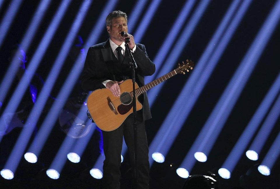 "Photo - Blake Shelton performs ""Nobody But You"" at the 62nd annual Grammy Awards on Sunday, Jan. 26, 2020, in Los Angeles. [Photo by Matt Sayles/Invision/AP]"