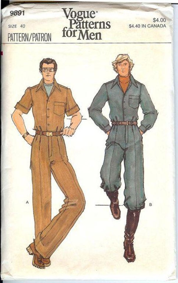 Photo - A 1970s Vogue sewing pattern for men's jumpsuits. (Instagram)