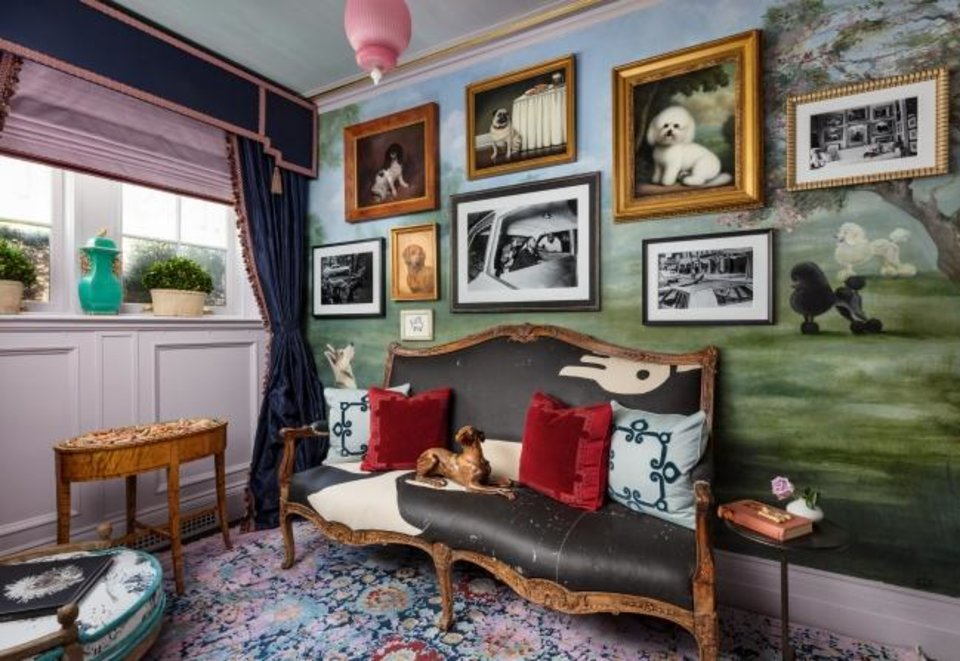 Photo -  A room by Sheila Bridges at the 2019 Kips Bay Decorator Show House features a gallery wall. [NICKOLAS SARGENT]