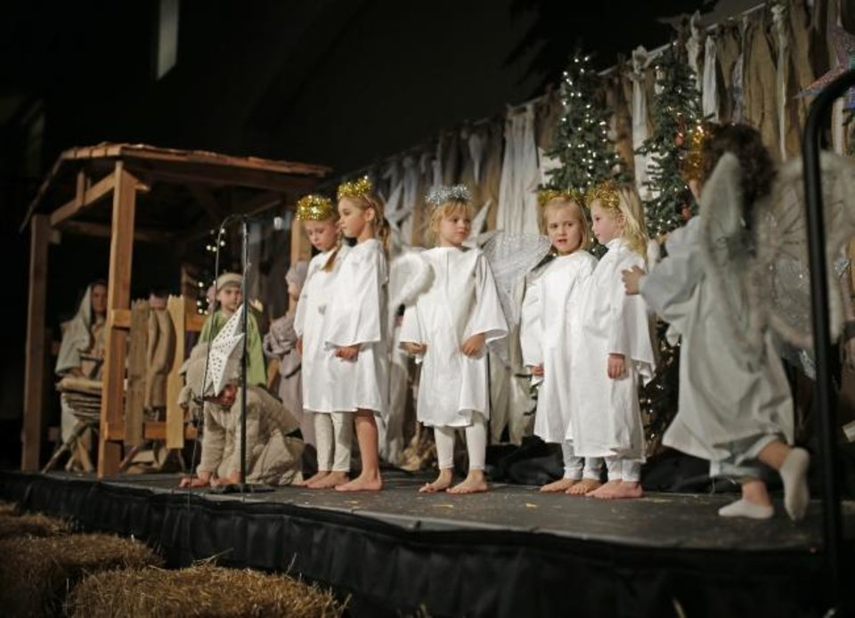 Photo -  Children take the stage in a live Nativity play during the 2015