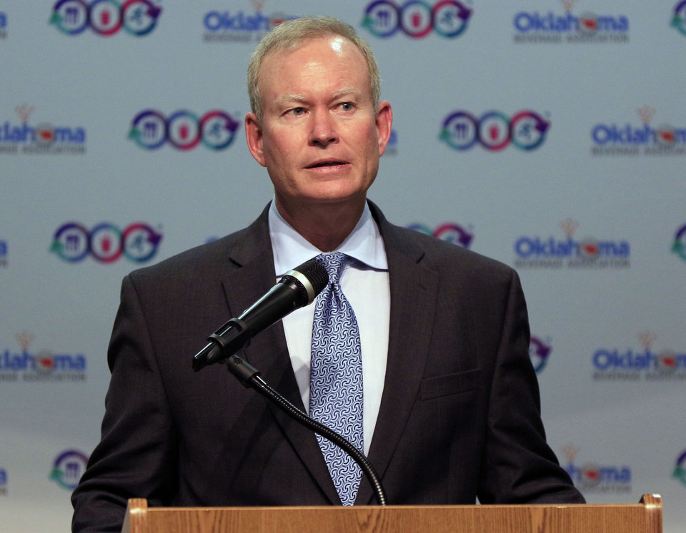 "Photo - Oklahoma City Mayor Mick Cornett speaks as the Oklahoma Beverage Association launches the ""Balance Calories Oklahoma"" initiative encouraging Oklahomans to ""Balance What You Eat, Drink and Do"" in Oklahoma City, Okla. Monday, Aug. 29, 2016.  Photo by Paul Hellstern, The Oklahoman"