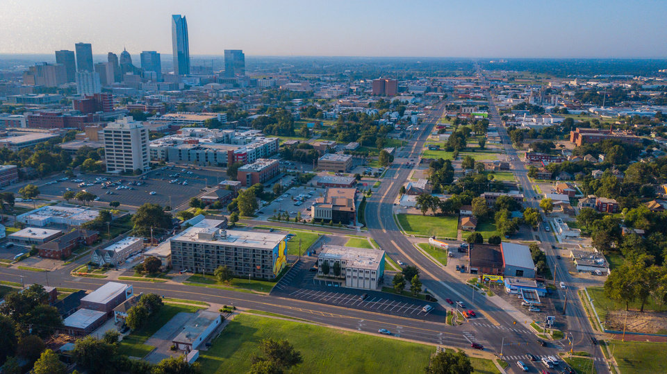 Photo -  Drone image at NW 13 and Classen and Western looking south towards downtown. [Image by Dave Morris/The Oklahoman]
