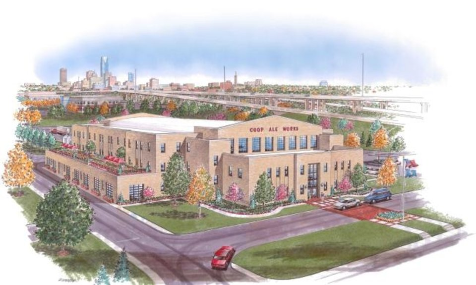 Photo -  Plans for the Coop Ale redevelopment of the former 45th Infantry Armory are shown in this rendering by Spur Design. [PROVIDED]