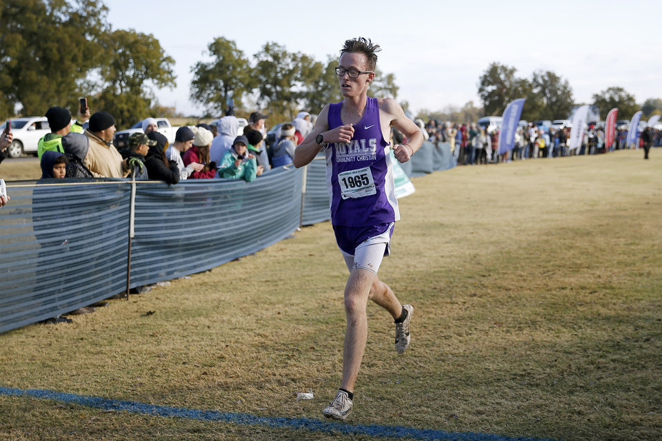 Photo - Community Christian's Maverick Stephenson finishes the boys Class 4A cross country state championships in Shawnee, Okla., Saturday, Oct. 26, 2019. [Bryan Terry/The Oklahoman]