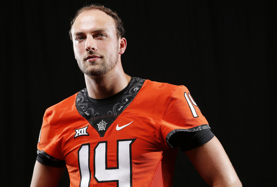 Photo -  OSU quarterback Taylor Cornelius during Oklahoma State football media day at Gallagher-Iba Arena in Stillwater, Okla., Saturday, Aug. 4, 2018. Photo by Nate Billings, The Oklahoman