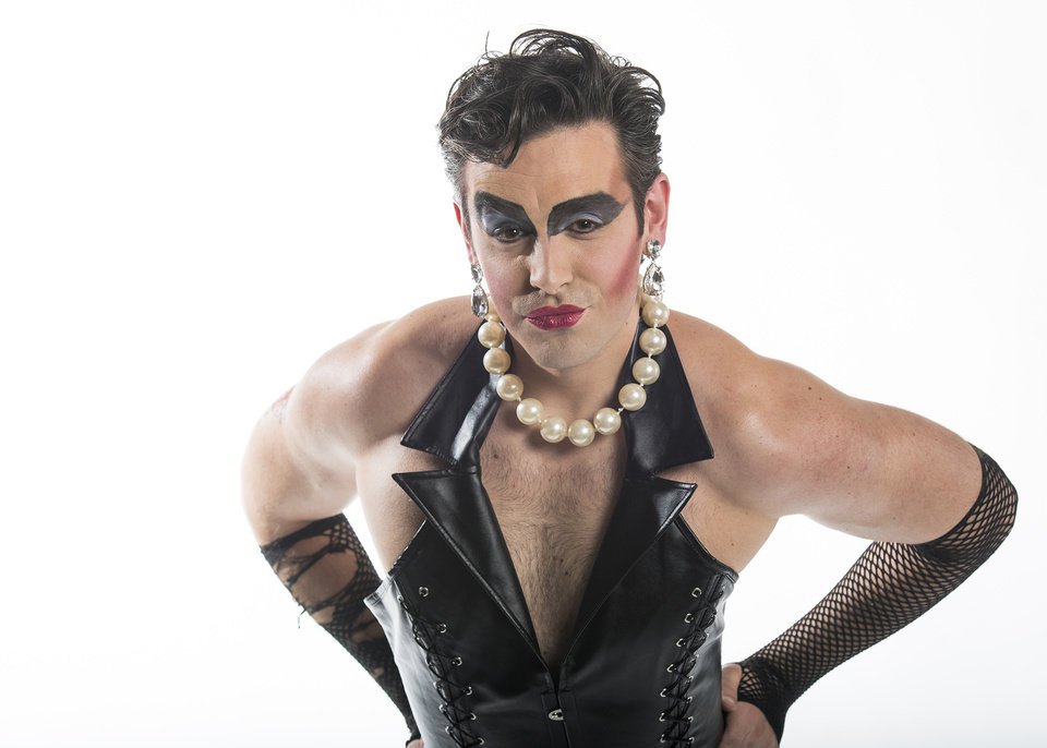 "Photo -  J. Robert Moore as Dr. Frank 'n' Furter in ""The Rocky Horror Show."" [Photo by K.O. Rinearson]"