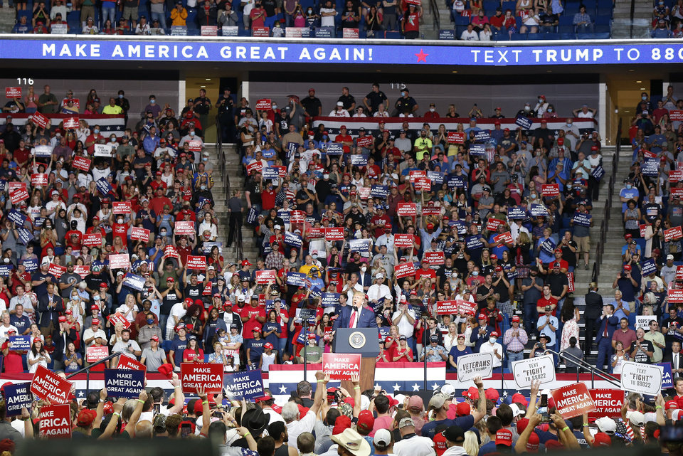 Photo - President Donald Trump to speaking at the BOK Center at the first re-election rally in Tulsa, OK, June 20, 2020. STEPHEN PINGRY/Tulsa World