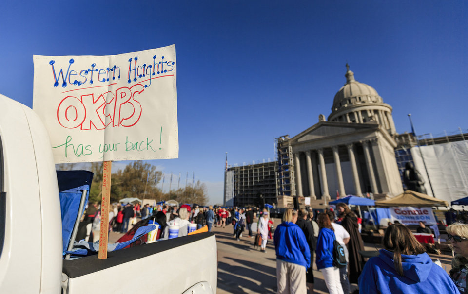 Photo - Support is show for teachers that can not attend the ninth day of a walkout by Oklahoma teachers at the state Capitol in Oklahoma City, Okla. on Tuesday, April 10, 2018.   Photo by Chris Landsberger, The Oklahoman
