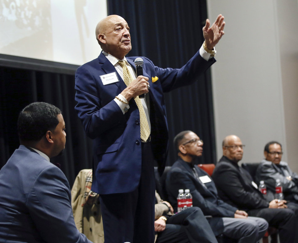 Photo - Billy Brooks speaks during a panel discussion of former students who were expelled from then Oklahoma Christian College and arrested in 1969 after the Benson Hall sit-in to protest the expulsion of black basketball players who were accused of attending an interracial gathering off campus, at Oklahoma Christian University's Judd Theatre in Oklahoma City, Wednesday, March 6, 2019. Brooks, a former basketball player, is one of what OC now calls Oklahoma Christian's 18. Photo by Nate Billings, The Oklahoman