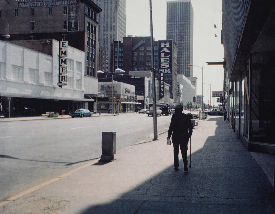 Photo - I.M. PEI: Downtown Oklahoma City urban renewal looking east on Main Street. Staff photo by Jim Argo dated June 1974. Original from Oklahoman print archive, copied Friday, April 30, 2010. Copy photo by Doug Hoke, The Oklahoman. ORG XMIT: KOD