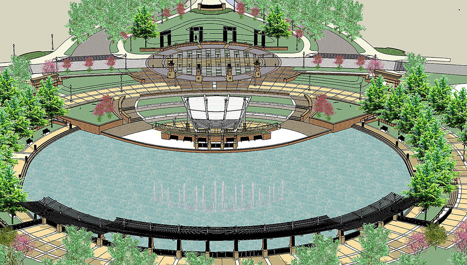 Photo - This drawing shows the pond and amphitheater that is to be the focal point of Legacy Park. DRAWINGS PROVIDED BY CITY OF NORMAN