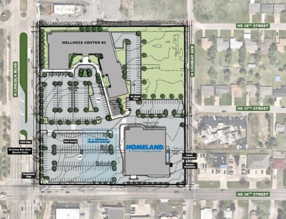 Photo -  The new Homeland grocery at NE 36 and Lincoln Boulevard is designed to complement a city wellness center being built next year on the same block. [JOHNSON ASSOCIATES]