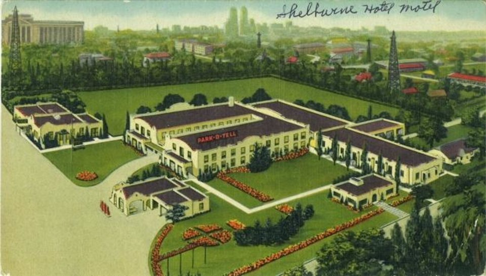 Photo -  This architect's rendering shows the Park-O-Tell hotel, which was built north of Oklahoma's Capitol on Lincoln Boulevard's west side. [Image provided]