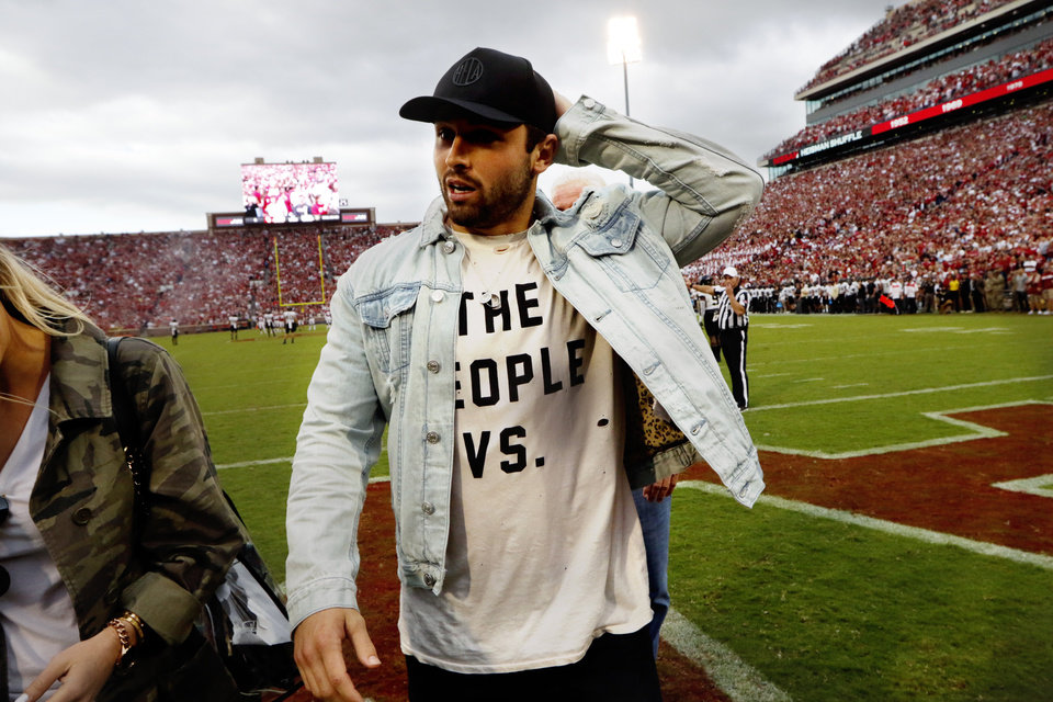 Photo - Baker Mayfield is introduced during a college football game between the University of Oklahoma Sooners (OU) and the Army Black Knights at Gaylord Family-Oklahoma Memorial Stadium in Norman, Okla., on Saturday, Sept. 22, 2018. Photo by Steve Sisney, The Oklahoman