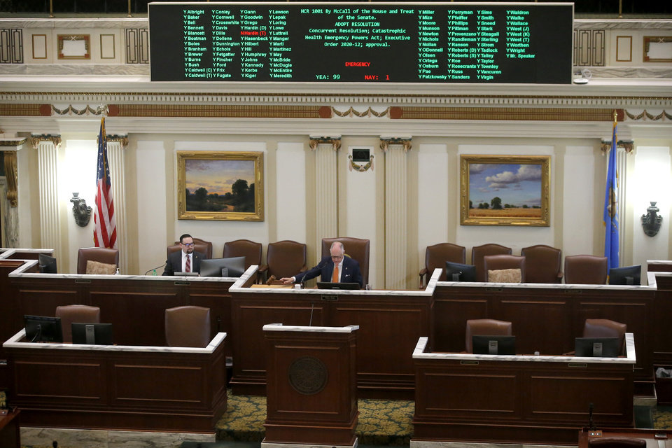 Photo - The Catastrophic Health Emergency Powers Act passes during a special session of the House of Representatives at the state Capitol in Oklahoma City, Monday, April 6, 2020. A skeleton crew of lawmakers was allowed in the House chamber as others watched from their offices during a special session of the House of Representatives. [Bryan Terry/The Oklahoman]