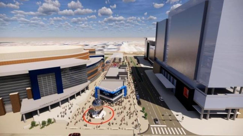 Photo -  Revised plans for the proposed Thunder Alley development show a digital video board-wrapped building that would be home to a 6,125-square-foot Thunder Alley Grill. A second 10,000-square-foot restaurant would be built in the middle of the block. [PROVIDED]