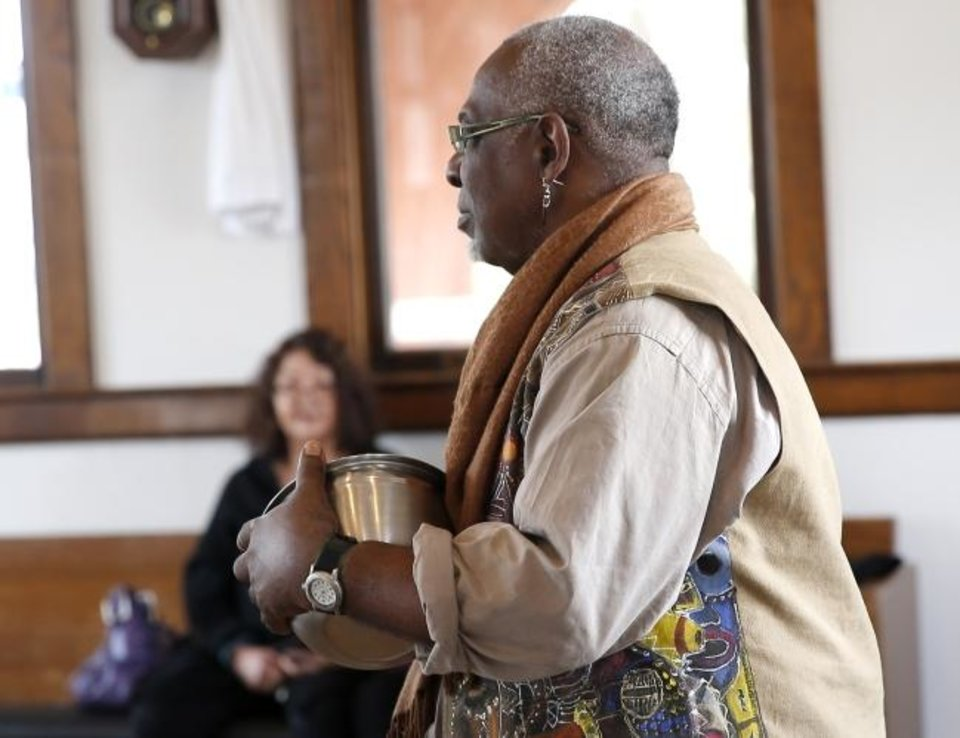 Photo -  Al Bostick performs April 14, 2018, during the KITCH: Kitchen Compositions Soundpainting Workshop at the Depot in Norman. He will co-star in The Pollard Theatre's production of