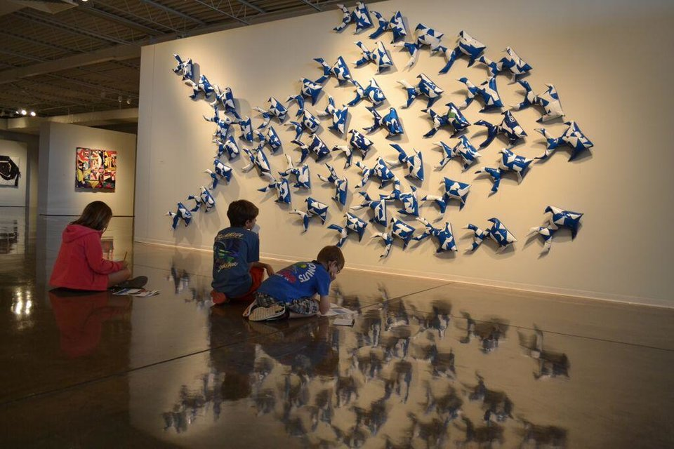 Photo - Children study during the Jason Willaford exhibit at Oklahoma Contemporary Arts Center at State Fair Park.  Photos provided