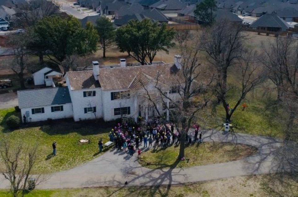 Photo -  An aerial view of the Terra Place property in Edmond shows the March 23 Beautiful Restoration celebration in front of
