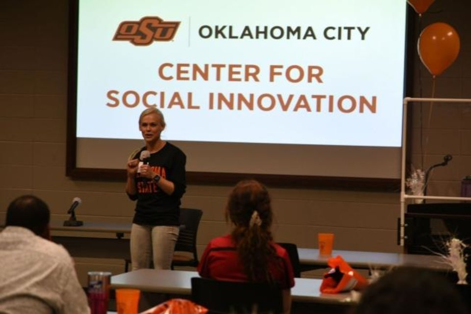 Photo -  Ariel Beasley talks to students at the Center for Social Innovation at OSU-OKC. [Provided]