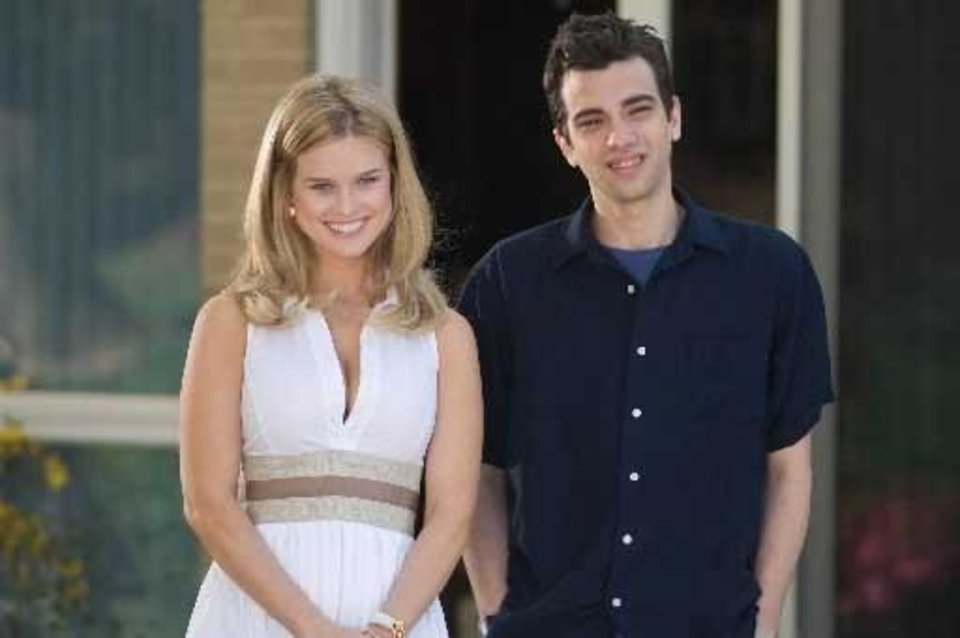 Photo -  Alice  Eve, left, and Jay Baruchel are shown in a scene from,